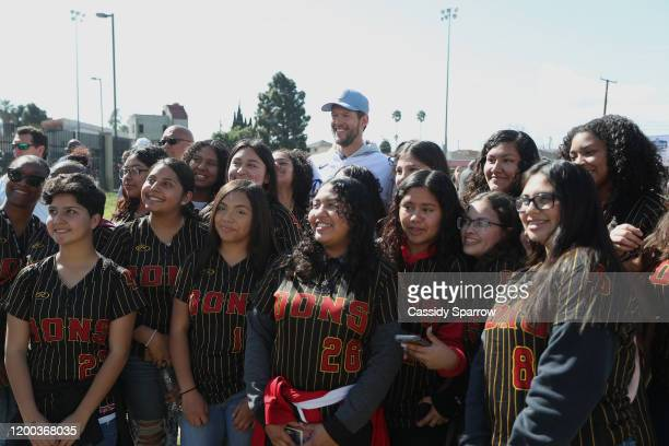 Clayton Kershaw attends The Los Angeles Dodgers Foundation, Kershaw's Challenge And The City Of Compton Host Dodgers Dreamfields Groundbreaking at...