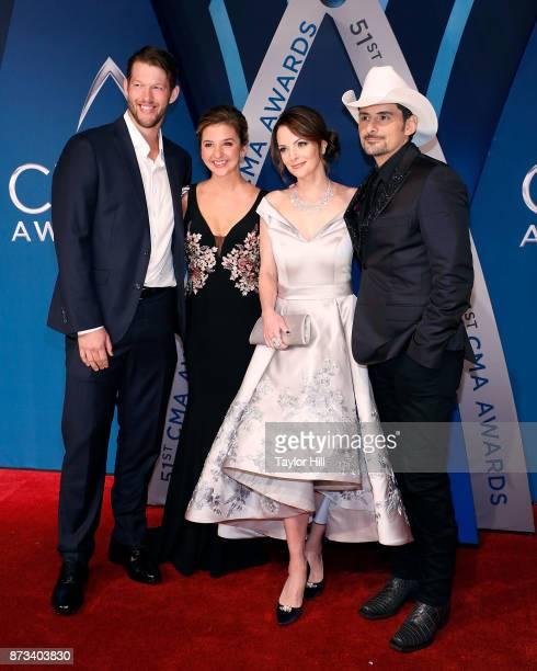 Clayton Kershaw Kimberly WilliamsPaisley and Brad Paisley attend the 51st annual CMA Awards at the Bridgestone Arena on November 8 2017 in Nashville...