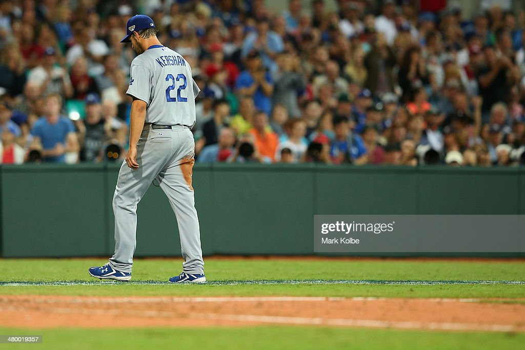 Clayton Kershaw of the Dodgers leaves the field after being pulled during the opening match of the MLB season between the Los Angeles Dodgers and the Arizona Diamondbacks at Sydney Cricket Ground on March 22, 2014 in Sydney, Australia.