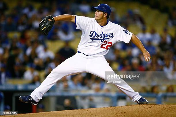Clayton Kershaw of the Los Angeles Dodgers a pitches in the second inning against the San Diego Padres at Dodger Stadium on May 1 2009 in Los Angeles...
