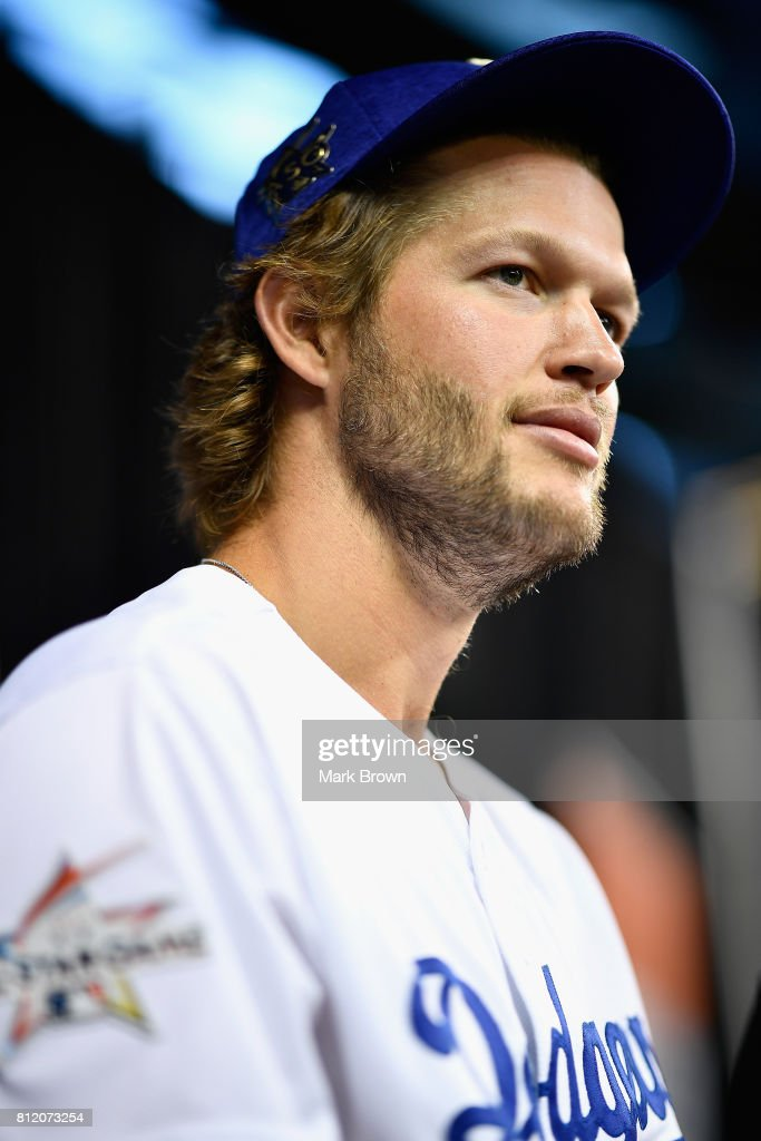 Clayton Kershaw #22 of the Los Angeles Dodgers and the National League speaks with the media during Gatorade All-Star Workout Day ahead of the 88th MLB All-Star Game at Marlins Park on July 10, 2017 in Miami, Florida.