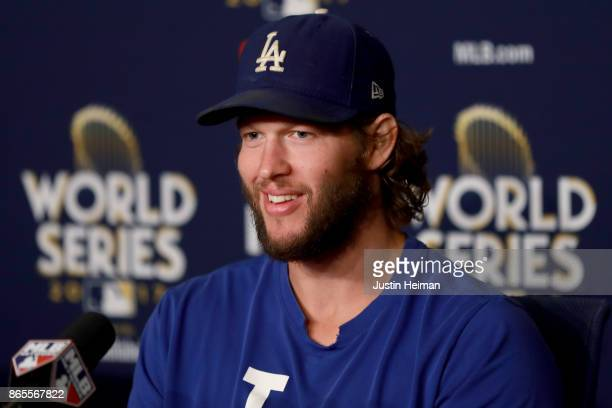 Clayton Kershaw of the Los Angeles Dodgers answers questions from the media ahead of the World Series at Dodger Stadium on October 23 2017 in Los...