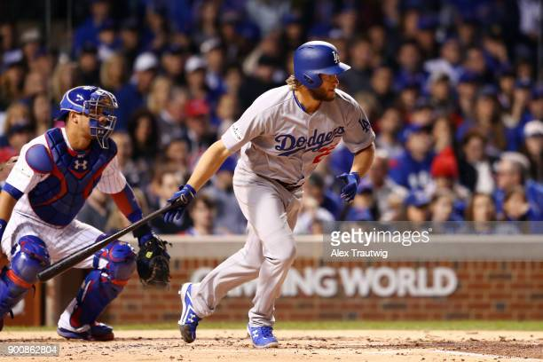 Clayton Kershaw of the Los Angeles Dodgers bats during Game 5 of the National League Championship Series against the Chicago Cubs at Wrigley Field on...