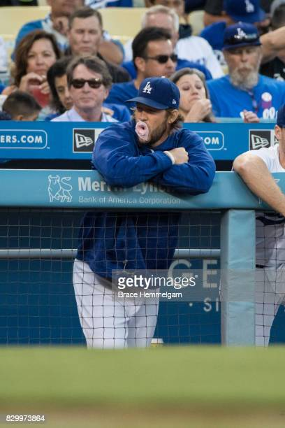 Clayton Kershaw of the Los Angeles Dodgers blows a bubble of gum against the Minnesota Twins on July 25 2017 at Dodger Stadium in Los Angeles...