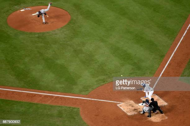 Clayton Kershaw of the Los Angeles Dodgers bunts during Game 1 of the 2017 World Series against the Houston Astros at Dodger Stadium on Tuesday...
