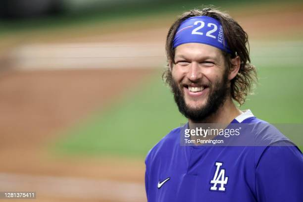 Clayton Kershaw of the Los Angeles Dodgers celebrate his teams 8-3 victory against the Tampa Bay Rays in Game One of the 2020 MLB World Series at...