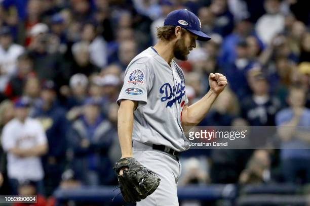 Clayton Kershaw of the Los Angeles Dodgers celebrates after defeating the Milwaukee Brewers in Game Seven to win the National League Championship...