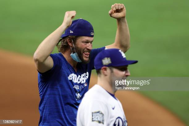 Clayton Kershaw of the Los Angeles Dodgers celebrates after defeating the Tampa Bay Rays 3-1 in Game Six to win the 2020 MLB World Series at Globe...