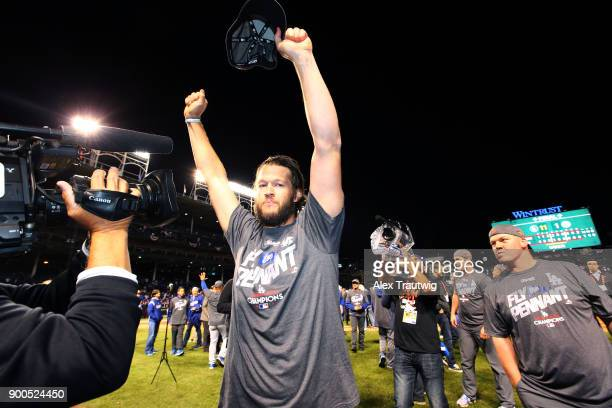 Clayton Kershaw of the Los Angeles Dodgers celebrates on the field after winning Game 5 of the National League Championship Series against the...