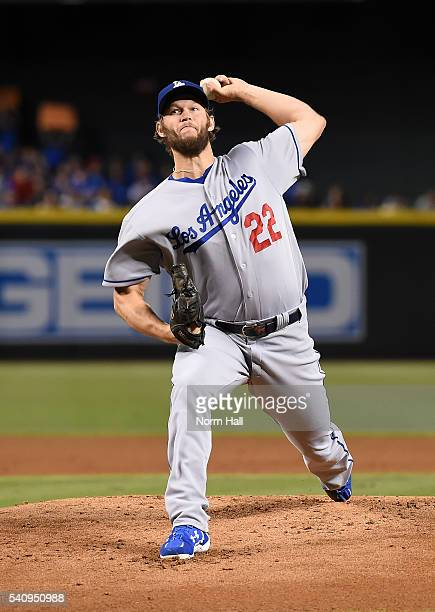 Clayton Kershaw of the Los Angeles Dodgers delivers a pitch against the Arizona Diamondbacks at Chase Field on June 15 2016 in Phoenix Arizona