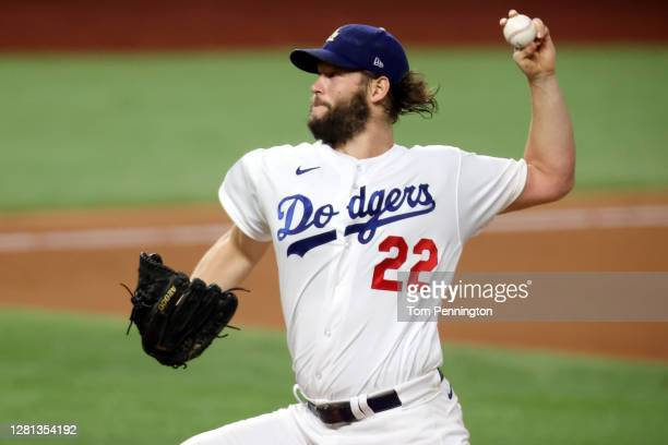 Clayton Kershaw of the Los Angeles Dodgers delivers the pitch against the Tampa Bay Rays during the first inning in Game One of the 2020 MLB World...