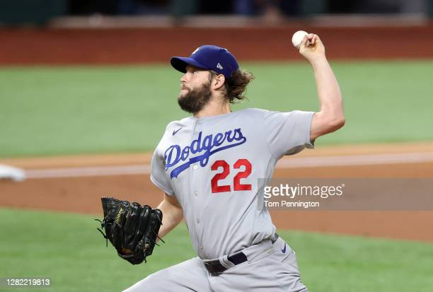 Clayton Kershaw of the Los Angeles Dodgers delivers the pitch against the Tampa Bay Rays during the first inning in Game Five of the 2020 MLB World...