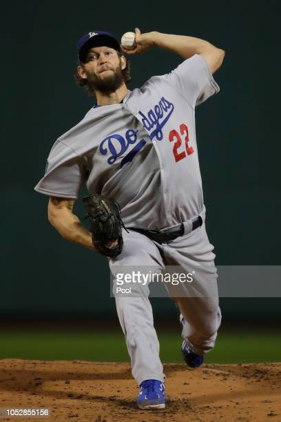 Clayton Kershaw of the Los Angeles Dodgers delivers the pitch during the first inning against the Boston Red Sox in Game One of the 2018 World Series...