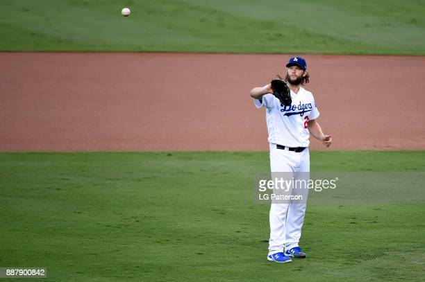 Clayton Kershaw of the Los Angeles Dodgers gets ready to start Game 1 of the 2017 World Series against the Houston Astros at Dodger Stadium on...