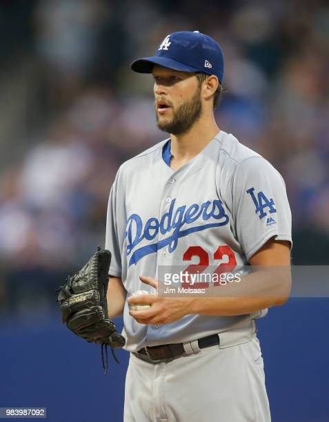 Clayton Kershaw of the Los Angeles Dodgers in action against the New York Mets at Citi Field on June 23 2018 in the Flushing neighborhood of the...