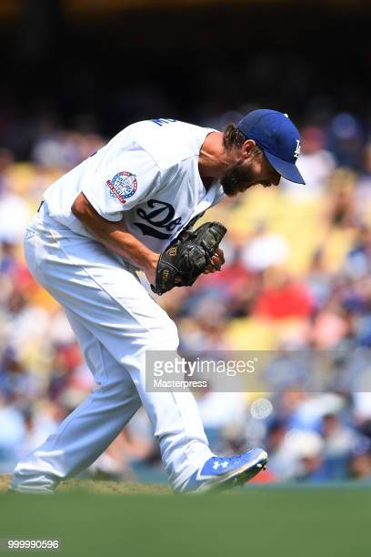 Clayton Kershaw of the Los Angeles Dodgers in action during the MLB game against the Los Angeles Angels at Dodger Stadium on July 15 2018 in Los...