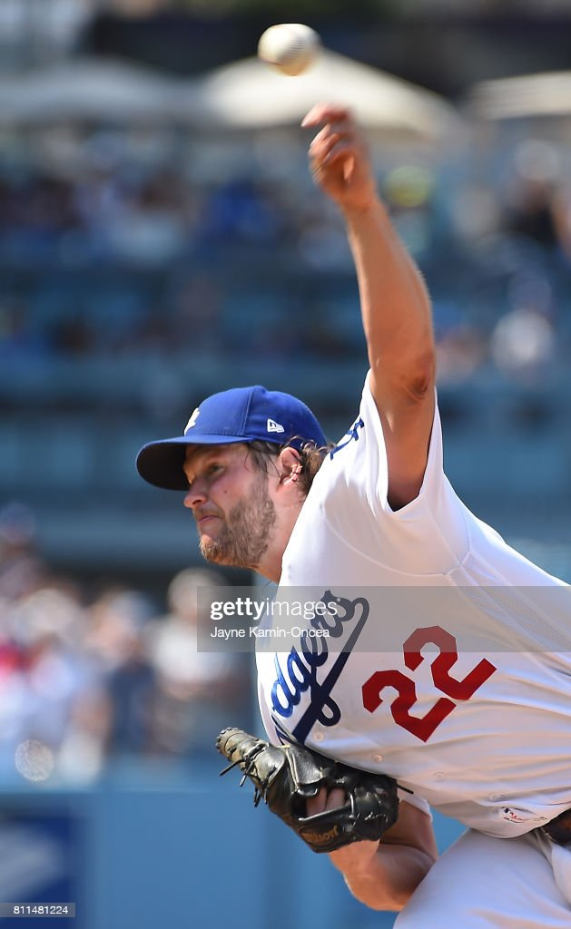 Clayton Kershaw #22 of the Los Angeles Dodgers in the ninth inning against the Kansas City Royals at Dodger Stadium on July 9, 2017 in Los Angeles, California.