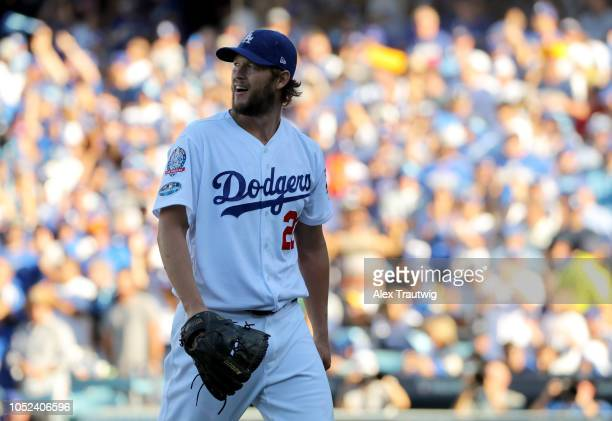 Clayton Kershaw of the Los Angeles Dodgers is seen during Game 5 of the NLCS against the Milwaukee Brewers at Dodger Stadium on Wednesday October 17...