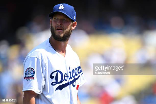 Clayton Kershaw of the Los Angeles Dodgers looks on during the MLB game against the Los Angeles Angels at Dodger Stadium on July 15 2018 in Los...