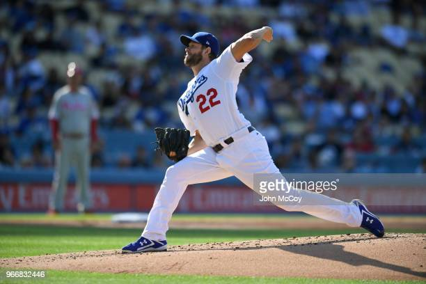Clayton Kershaw of the Los Angeles Dodgers pitches against the Philadelphia Phillies in the second inning at Dodger Stadium on May 31 2018 in Los...
