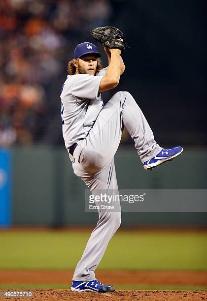 Clayton Kershaw of the Los Angeles Dodgers pitches against the San Francisco Giants in the first inning at ATT Park on September 29 2015 in San...