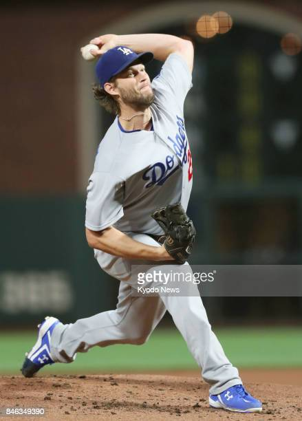 Clayton Kershaw of the Los Angeles Dodgers pitches against the San Francisco Giants at ATampT Park in San Francisco on Sept 12 2017 Kershaw worked...