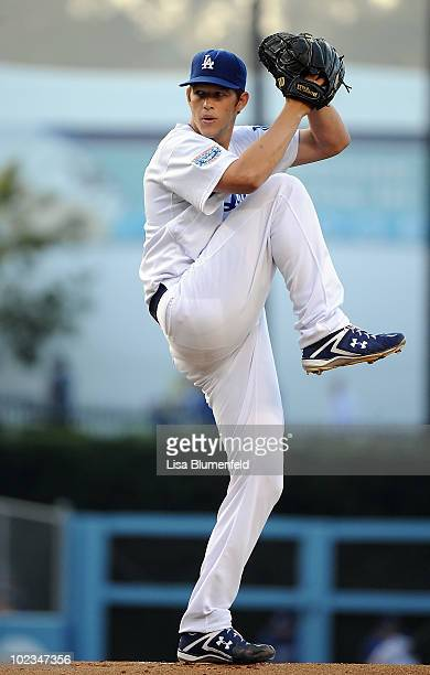 Clayton Kershaw of the Los Angeles Dodgers pitches against the St Louis Cardinals at Dodger Stadium on June 9 2010 in Los Angeles California