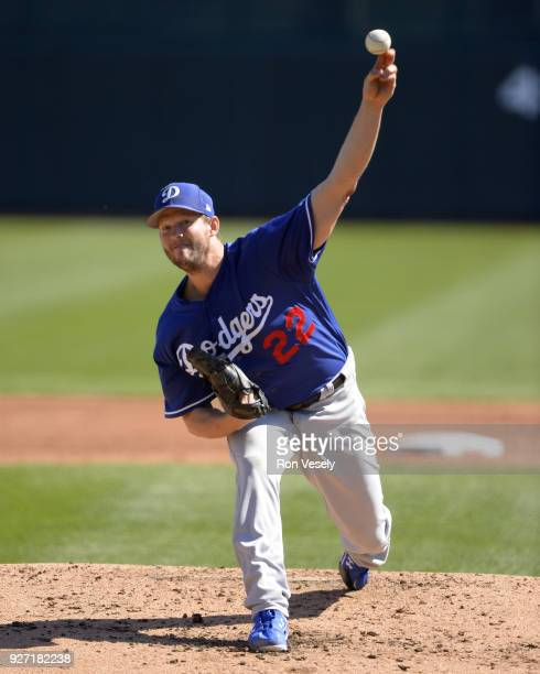 Clayton Kershaw of the Los Angeles Dodgers pitches against the Chicago White Sox on March 2 2018 at Camelback Ranch in Glendale Arizona