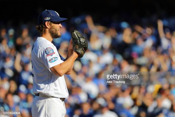 Clayton Kershaw of the Los Angeles Dodgers pitches during Game 5 of the NLCS against the Milwaukee Brewers at Dodger Stadium on Wednesday October 17...