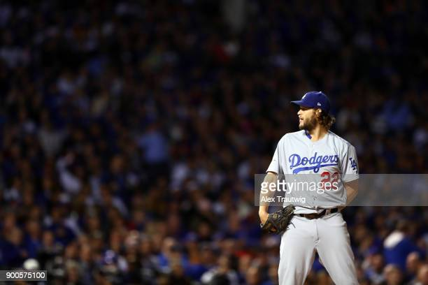 Clayton Kershaw of the Los Angeles Dodgers pitches during Game 5 of the National League Championship Series against the Chicago Cubs at Wrigley Field...