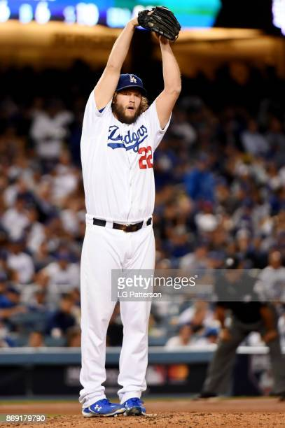 Clayton Kershaw of the Los Angeles Dodgers pitches during Game 7 of the 2017 World Series against the Houston Astrosat Dodger Stadium on Wednesday...
