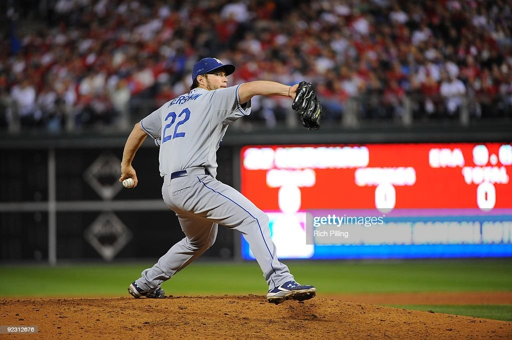 Clayton Kershaw of the Los Angeles Dodgers pitches during Game Five of the National League Championship Series (NLCS) against the Philadelphia Phillies at Citizens Bank Park in Philadelphia, Pennsylvania on October 21, 2009. The Phillies defeated the Dodgers 10-4.
