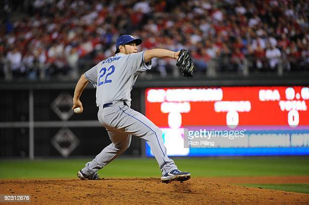 Clayton Kershaw of the Los Angeles Dodgers pitches during Game Five of the National League Championship Series against the Philadelphia Phillies at...