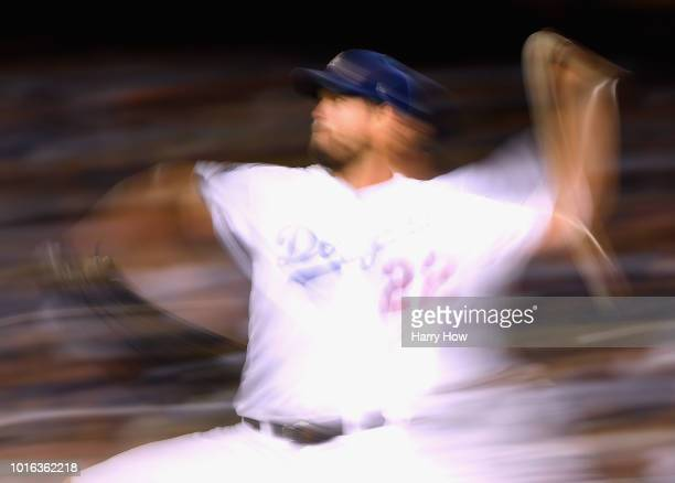 Clayton Kershaw of the Los Angeles Dodgers pitches during the eighth inning against the San Francisco Giants at Dodger Stadium on August 13 2018 in...