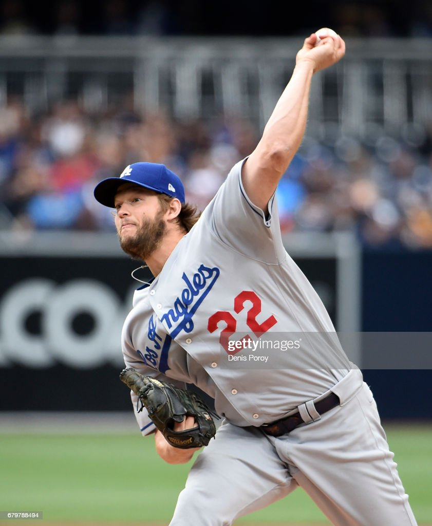 Clayton Kershaw #22 of the Los Angeles Dodgers pitches during the first inning of a baseball game against the San Diego Padres at PETCO Park on May 6, 2017 in San Diego, California.