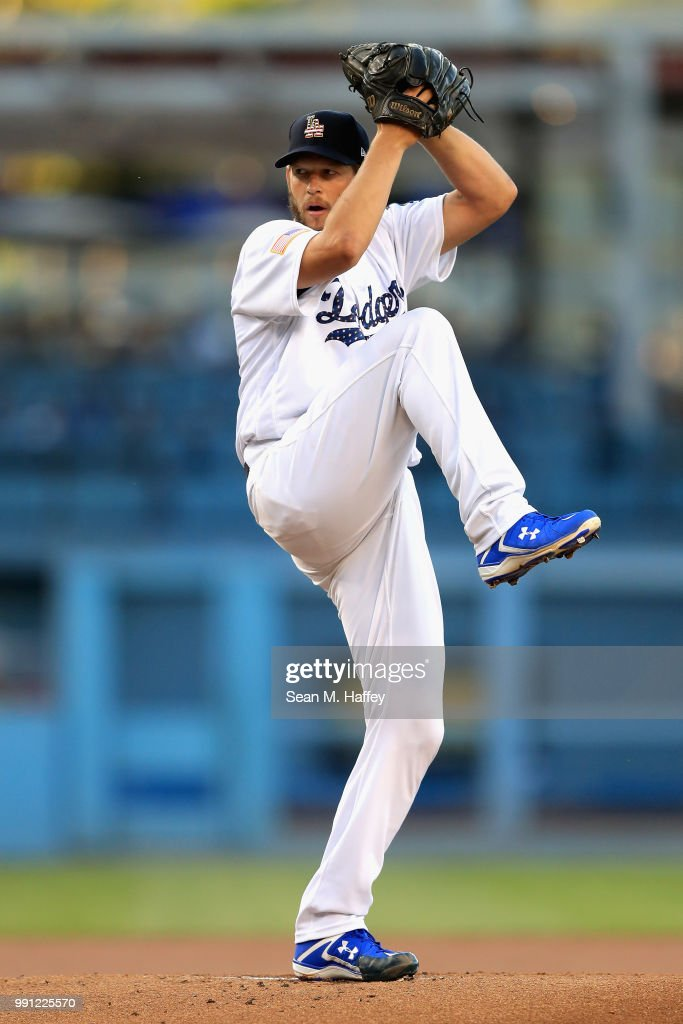 Clayton Kershaw #22 of the Los Angeles Dodgers pitches during the first inning of a game against the Pittsburgh Pirates at Dodger Stadium on July 3, 2018 in Los Angeles, California.