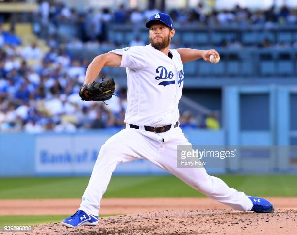 Clayton Kershaw of the Los Angeles Dodgers pitches during the fourth inning against the San Francisco Giants during the 2018 Major League Baseball...