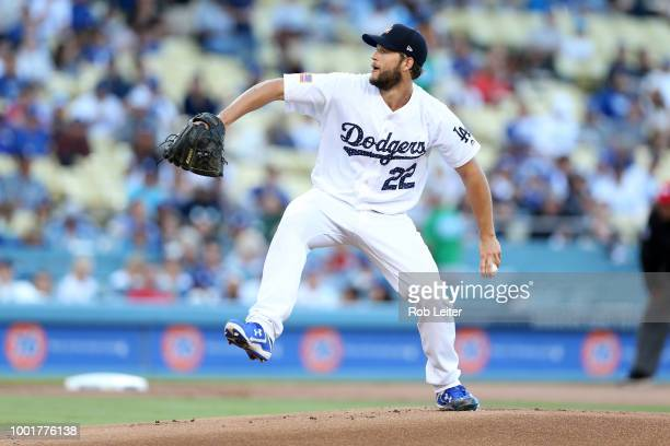 Clayton Kershaw of the Los Angeles Dodgers pitches during the game against the Pittsburgh Pirates at Dodger Stadium on July 3 2018 in Los Angeles...