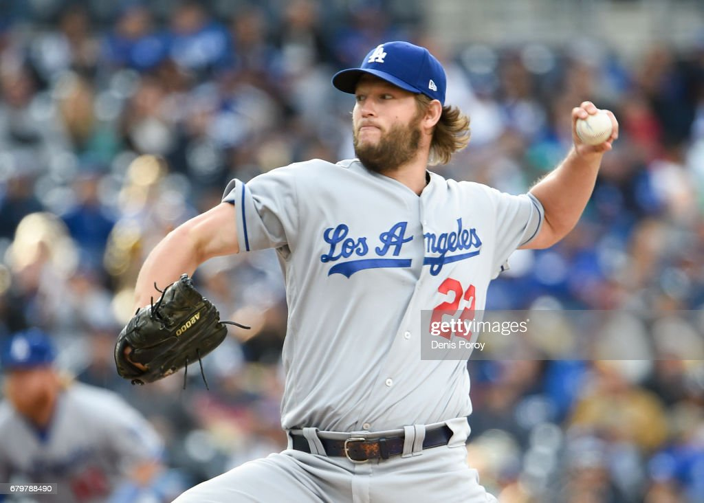 Clayton Kershaw #22 of the Los Angeles Dodgers pitches during the second inning of a baseball game against the San Diego Padres at PETCO Park on May 6, 2017 in San Diego, California.