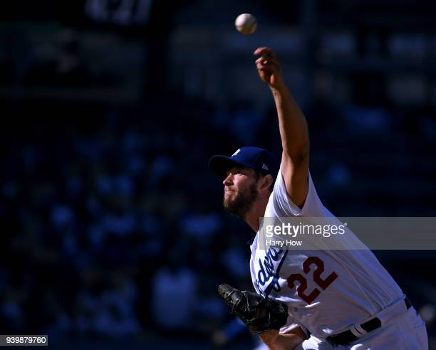 Clayton Kershaw of the Los Angeles Dodgers pitches during the second inning against the San Francisco Giants during the 2018 Major League Baseball...