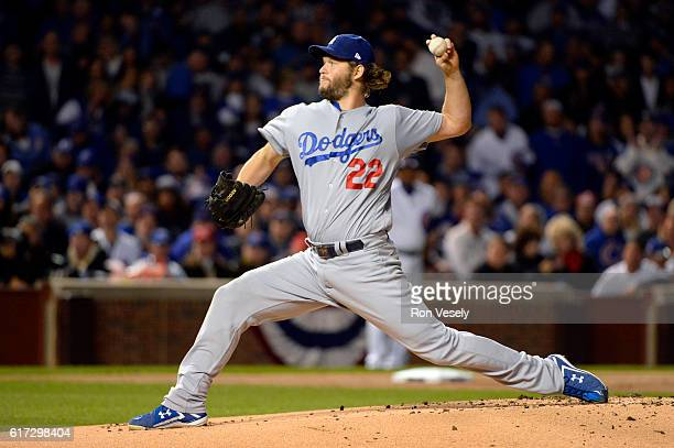 Clayton Kershaw of the Los Angeles Dodgers pitches in the first inning during Game 6 of the NLCS between the Los Angeles Dodgers against the Chicago...