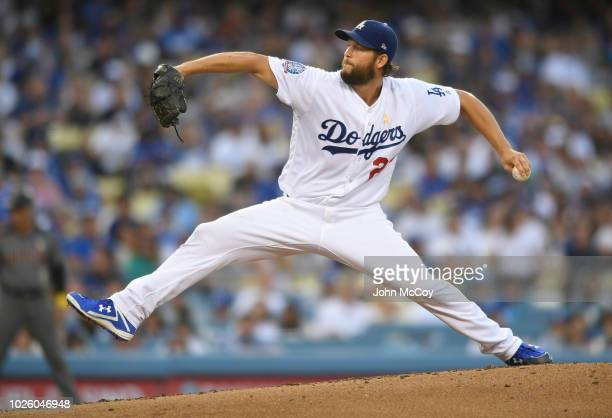 Clayton Kershaw of the Los Angeles Dodgers pitches to the Arizona Diamondbacks in the third inning at Dodger Stadium on September 1, 2018 in Los...