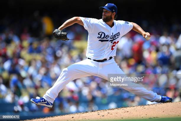 Clayton Kershaw of the Los Angeles Dodgers pitchs during the MLB game against the Los Angeles Angels at Dodger Stadium on July 15 2018 in Los Angeles...