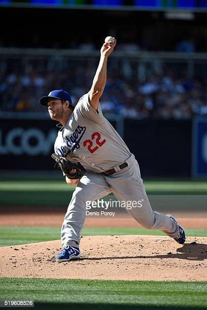 Clayton Kershaw of the Los Angeles Dodgers plays during a baseball game against the San Diego Padres on opening day at PETCO Park on April 4 2016 in...