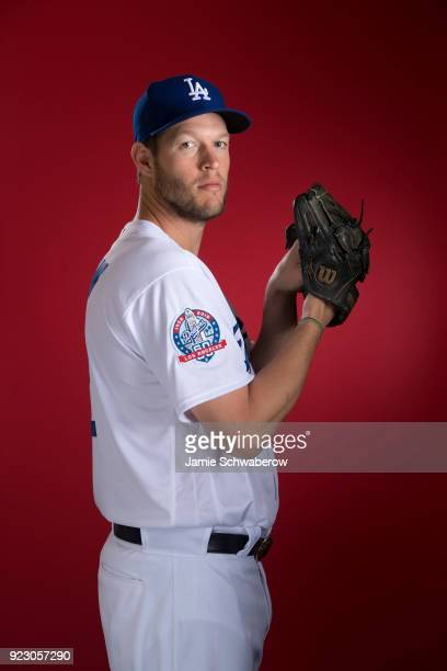 Clayton Kershaw of the Los Angeles Dodgers poses during MLB Photo Day at Camelback Ranch Glendale on February 22 2018 in Glendale Arizona