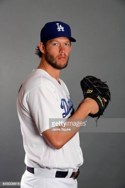Clayton Kershaw of the Los Angeles Dodgers poses on Los Angeles Dodgers Photo Day during Sprint Training on February 24 2017 in Glendale Arizona