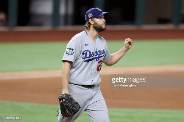 Clayton Kershaw of the Los Angeles Dodgers reacts after Randy Arozarena of the Tampa Bay Rays grounds out during the sixth inning in Game Five of the...