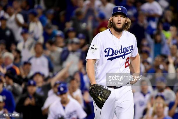 Clayton Kershaw of the Los Angeles Dodgers reacts during the fourth inning against the Houston Astros in game seven of the 2017 World Series at...