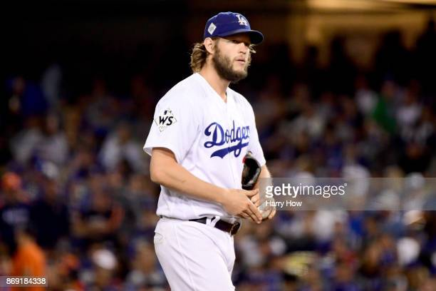 Clayton Kershaw of the Los Angeles Dodgers reacts during the sixth inning against the Houston Astros in game seven of the 2017 World Series at Dodger...