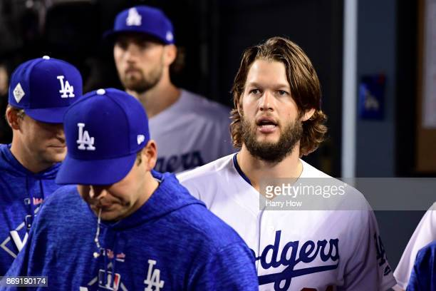 Clayton Kershaw of the Los Angeles Dodgers stands in the dugout during the sixth inning against the Houston Astros in game seven of the 2017 World...